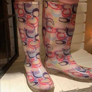 Coach multi color rain boots sz 8
